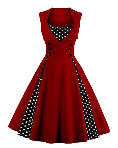 VERNASSA Women's Vintage 1950s Rockabilly Polka Dots Audrey Dress Retro Cocktail Dress]()