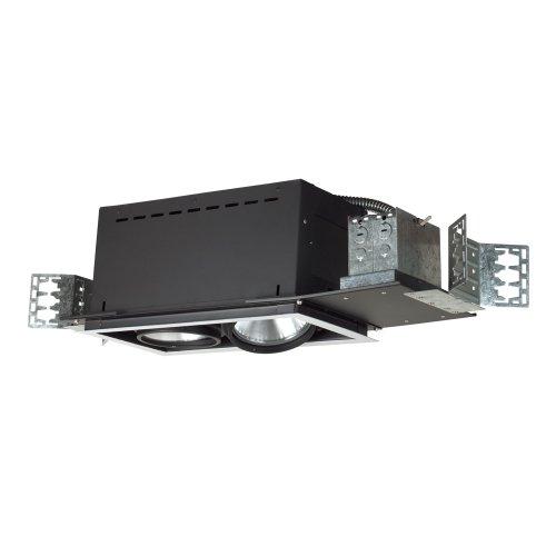 Jesco Lighting MYP38-2WB Modulinear Directional Lighting, Adjustable Yoke PAR38 2-Light Linear, Black Interior with White Trim