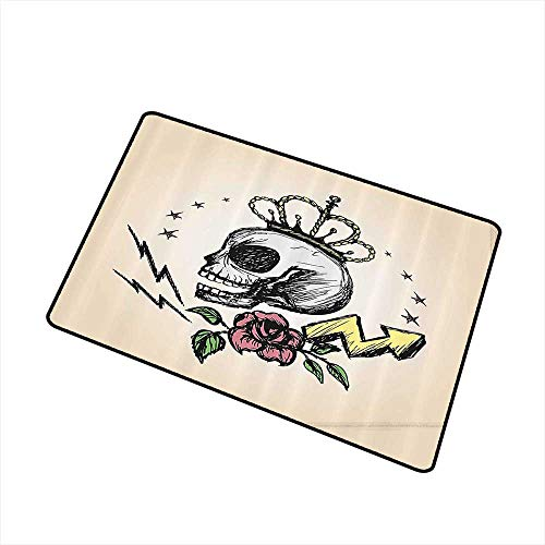 Interior Door mat Skull Decor Mexican Folk Art Inspired Skeleton with Crown and Rose Halloween Artsy Design W30 xL39 Country Home Decor Yellow Peach ()