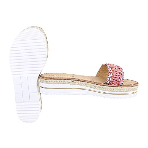 Ital-Design - zapatillas de baile (jazz y contemporáneo) Mujer rosa y rojo