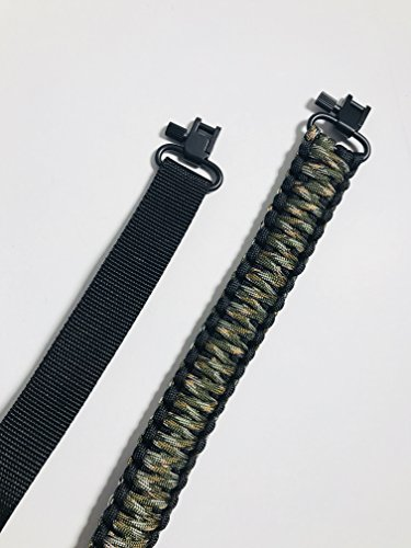 Gun Sling 550 Paracord for Rifle, Shotgun and Bow - Multi Purpose (Green Camo and Black)