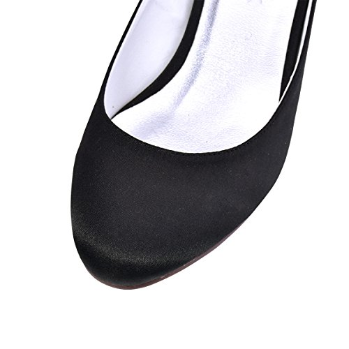 Evening Ankle Pumps Heel Black Chunky Strap Toe Closed ElegantPark Shoes Satin Wedding Women 4wqSFFz