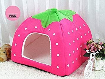 1 PC Foldable Cat Dog Kennel Warm Cushion Strawberry Shape Sponge Pet House Dog Nest (Pink, XXLarge 48x48cm)