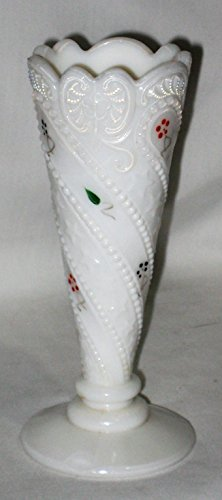 (Vintage Hand Painted Flowers Milk Glass 6 x 2 1/4 Inch Bud Vase)