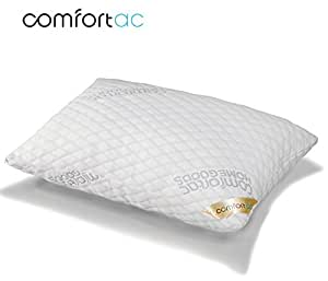 Shredded Memory Foam Pillow by Comfortac, with Washable Removable Cooling Bamboo Derived Cover - Firm & Comfortable Optimum Support, Neck Pain & Headache Relief