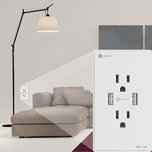[Smart & Safety] iClever IC-BB22W Wall Outlet Duplex Receptacle 15-Amp, 4.2A Dual USB Charger Ports with SmartID Technology, White(2-Pack)