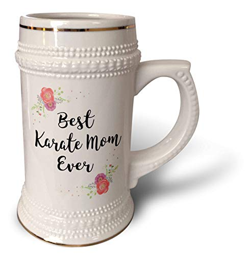 3dRose InspirationzStore - Love Series - Floral Best Karate Mom Ever with arty pretty watercolor pink flowers - 22oz Stein Mug (stn_311987_1)