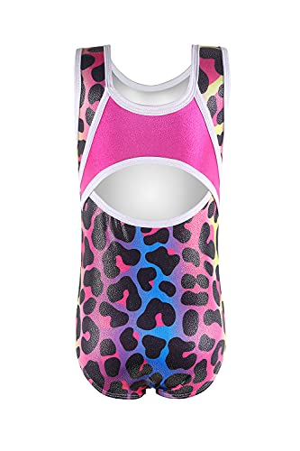Gymnastics leotards for girls rainbow leopard toddlers 4t 5t 4-5t dance outfits bodysuits dancewear blue hot pink