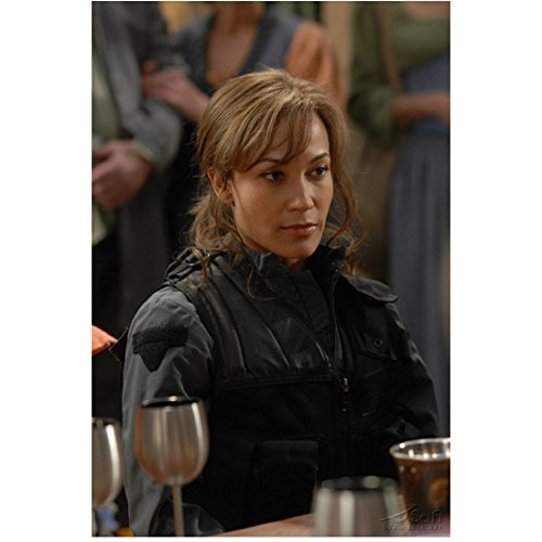 Rachell Luttrell as Teyla Emmagan Stargate Atlantis Ponytail Dressed in Black Vest Sitting with Wine Glass 8 x 10 inch photo
