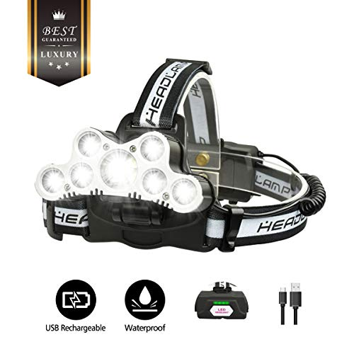 - OUTERDO LED Headlamp Headlight, Super Bright Hard hat Flashlight Camping Cycling Hunting Fishing Climbing Running Outdoor LED Headlamp with 6 Modes 1000 Real LM Waterproof (18650 Batteries+USB Cable)