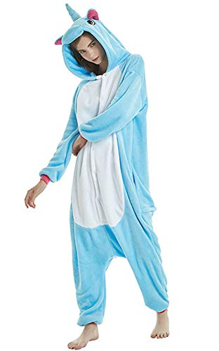 Tri-Better Adult Blue Unicorn Onesie Pajamas Hooded Kigurumi Unisex Cosplay Costumes with Colorful Tail (L)