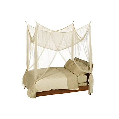 Mosquito Nets 4 U - 4 Corner Poster Ivory Bed Canopy Mosquito Net Double & King Size Mosquito Nets 4 U Ltd