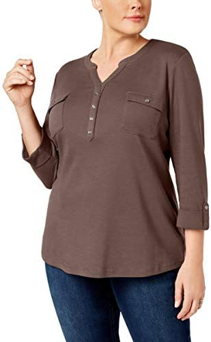 Karen Scott Womens Plus 3/4 Sleeves V-Neck Henley Top Brown 2X