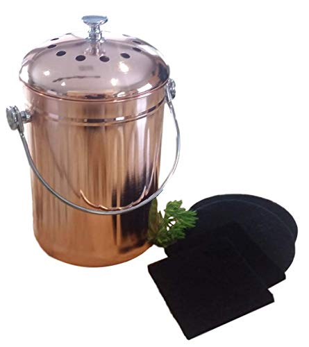 Kitchen Compost Bin Indoor Countertop - Copper Coated Stainless Steel 1 Gallon - BONUS Includes 2 Sets Replacement Compost Pail Charcoal Filters
