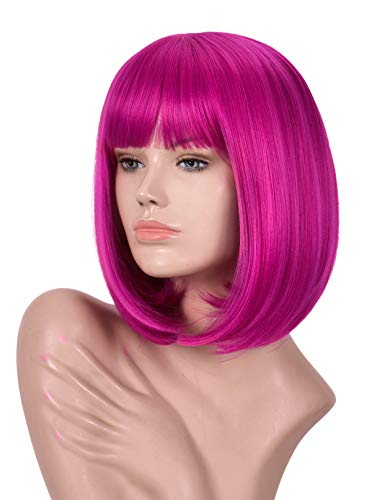 Annivia Hot Pink Short Bob Wig with Bangs for Women 12 Heat Resistant Synthetic Straight Wigs with Bangs Halloween Cosplay Party Wig Natural As Real Hair (Hot Pink)
