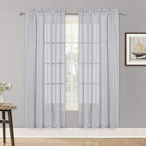 (RYB HOME Linen Texture Wave Sheer Drapery for Cottage Garden, Privacy Window Sheers for Living Room, Dreamy Simitransparent Sheer for Bathroom, Dove Grey, 52 in x 72 in per Panel,)