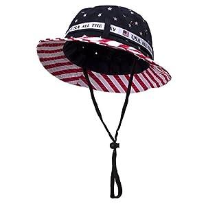 TopHeadwear Cotton Twill America BUCKET HAT W/ USA FLAG