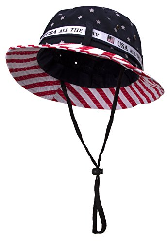 TOP HEADWEAR Cotton Twill USA Flag Bucket Hat USA All The Way Boonie, L/XL -