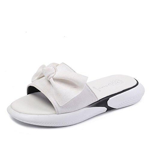 D'Été Pantoufles Fond Simple Chaussons white Joker Cool Épais Confortables Tissu femme WHLShoes Décontracté qnfCatHtU