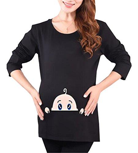 Girocollo Kerlana Lunga Bluse shirt Peeking Premaman T Donna Nero Top Pregnancy Gravidanza Magliette Stampa De Manica Divertente Baby Maternity Camicie AcqrAn7W
