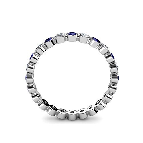 Blue Sapphire & Diamond 2.7mm Bezel Milgrain Eternity Band 1.15 to 1.29 ct tw in 14K Gold