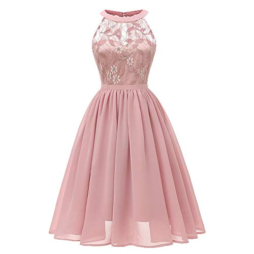 Women's Sexy Lace Floral Dress Solid Pink Vintage Princess Cocktail Party A-line Swing Dress