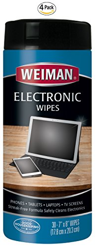 Weiman Electronic Screen Cleaner Wipes - 4 Pack - Safely Clean Your Laptop, Computer, TV, and All Electronic Equipment - Electronic Wipes - 30 Count by Weiman