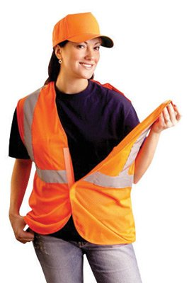 Occulux Breakaway Vest - OccuNomix 2X/3X Hi-Viz Orange OccuLux Classic Economy Light Weight Polyester Mesh Class 2 5-Point Break-Away Vest With Front Hook & Loop Closure & 3M Scotchlite 2 Inch Silver Reflective Tape & 2 Pockets SSGCB-O2/3X