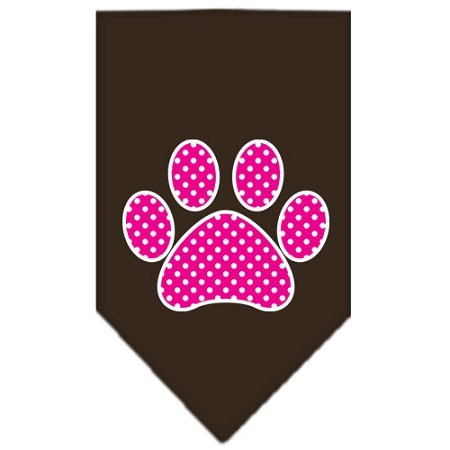 Mirage Pet Products Pink Swiss Dot Paw Screen Print Bandana for Pets, Large, Cocoa