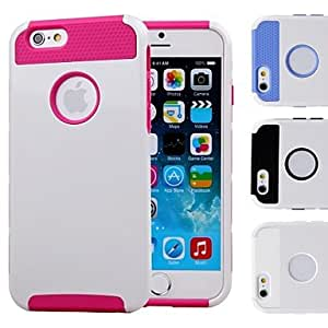 Mini - Double Shells Design White Back Hard Case with TPU Inside for iPhone6 , Color-Blue