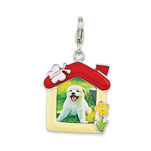 Enameled Picture Frame Pendant - Solid 925 Sterling Silver Enameled Pet Picture Frame with Lobster Clasp Pendant Charm (20mm x 25mm)