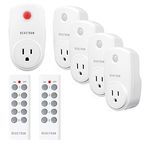 (Beastron Remote Control Outlet Kit Wireless Light Switch Up to 100 ft. Range Household Appliances, White (Learning Code,)