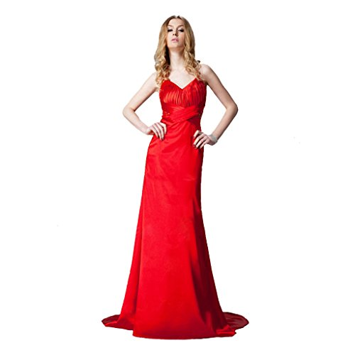 StarGirl Custom Made Womens A-Line Princess Halter Sweep Train Charmeuse Prom Dress With Ruffle Beading Red Size 16
