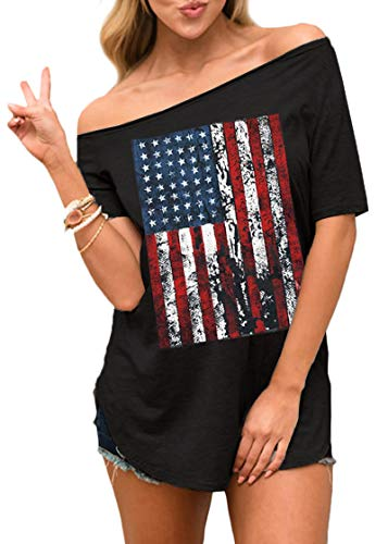 July 4th Women Love Graphic Off Shoulder Summer Top Short Sleeve Casual American Flag T Shirt S - Liberty Print Blouses
