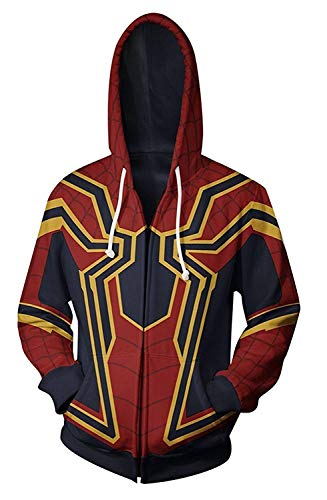 W YU Superhero Halloween Cosplay Costume Zipper Hoodie (XXX-Large, Red and Gold) -