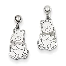 Gold and Watches Sterling Silver Disney Winnie the Pooh Dangle Post Earrings