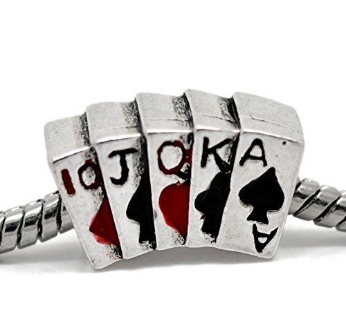 Poker Hand Cards Broadway Straight Casino Charm fits European Bracelets