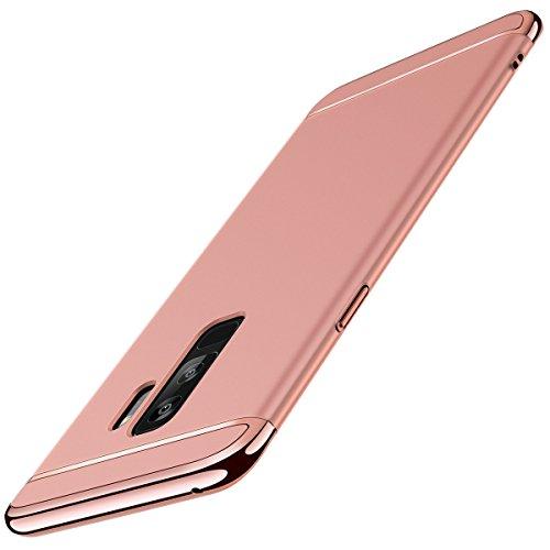 Coque Galaxy S9, Galaxy S9+ Adamark 3 en 1 Non Slip Surface Antichoc Etui Electro Placage Texture Protector Dur Coque Pour Samsung Galaxy S9/S9 Plus étui Rigide Case Cover (Galaxy S9, Or Rose) Or Rose