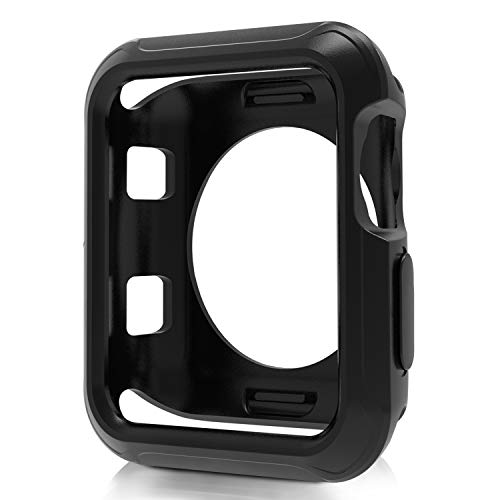 JuziTech Compatible Apple Watch Case 42mm?Shock-Proof and Shatter-Resistant Protector Bumper iwatch Case Compatible Apple Watch Series 3/2/1,Nike+,Sport,Edition (Black, 42mm)