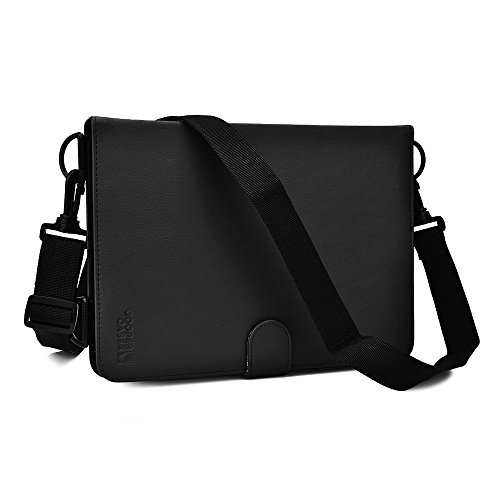 Asus Transformer Book T100, 2014 Edition, T100TAM tablet case, COOPER MAGIC CARRY Shoulder Strap Travel Rugged Shock Proof Protective Universal Tablet Cover Folio with Handle & Stand Black (Asus Transformer Case Rugged Book)