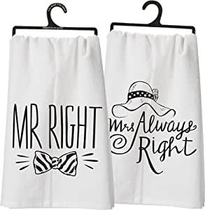 """Set of 3 - Dish Towel - """"Mr. Right, Mrs. Always Right"""""""