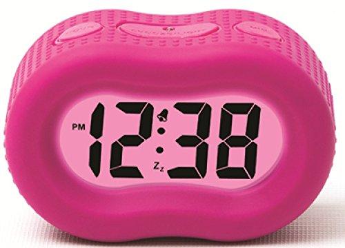 Timelink 88192B Large Display Rubber Digital LCD Alarm Clock w/ Smart Light Technology / Pink