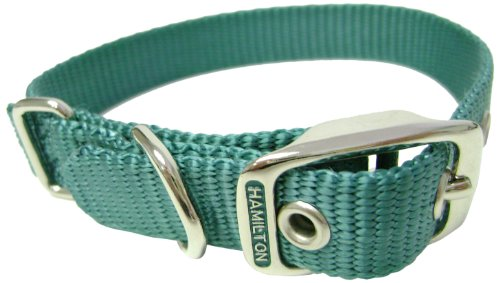 Hamilton 5/8-Inch by 16-Inch Single Thick Nylon Deluxe Dog Collar, Teal