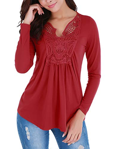 FISOUL Peplum Tops for Women Ruched Front Ruffle Casual Blouse Plus Size Red XXL