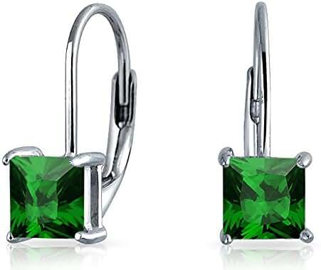 Bling Jewelry 925 Silver Princess Cut Simulated Emerald Drop Earrings
