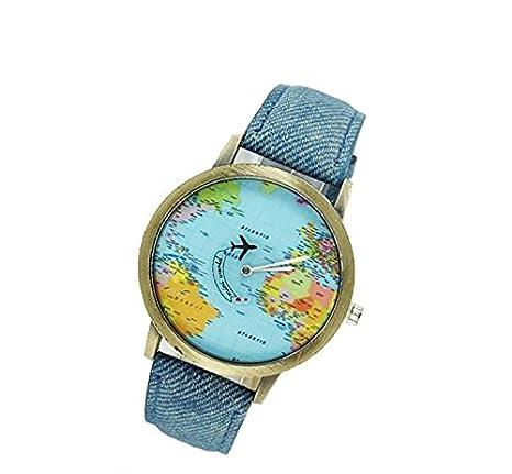 Reloj de mezclilla con diseño creativo del mapa del mundo, reloj de cuarzo para regalo (azul), de Honeysuck: Amazon.es: Hogar