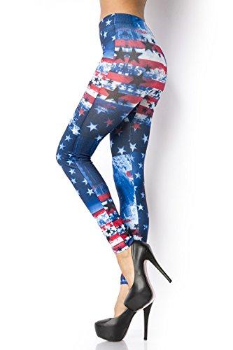 Add Health Leggings Print Jeans-Leggings Steampunk Gothic Leder Latex Lace Spitze Destroy OS (013 Blau / Rot / Weiß)