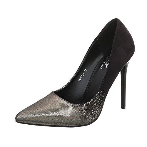 Ital Chaussures Femme design 5015 Gold 76a Schwarz Compensées CgCH8q