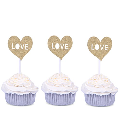 50 PCS Golden Cupcake Toppers Wedding Decorations Love Laser Cut - by Giuffi