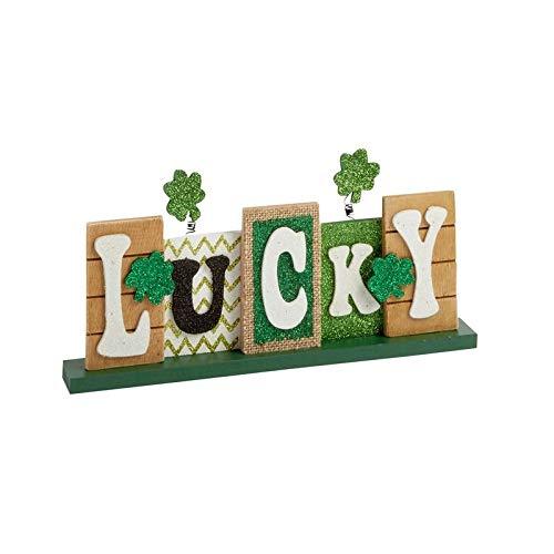 hm St. Patrick's Day Decorations Lucky Irish Shamrock Tabletop Shelf-Sitter Block Sign Home Office Decor Mantel (